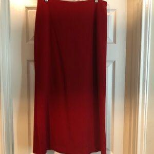 Genny/Prada Red Silk Skirt With Slit 48/12